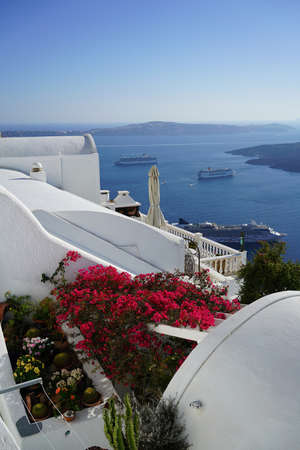 A view on Aegean Sea from Santorini island cliff, Greece. Фото со стока