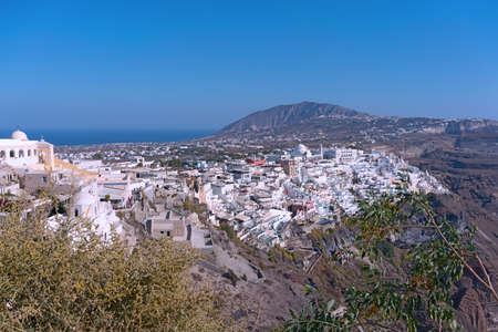 Panoramic view of Santorini Island with main town Fira, Greece.