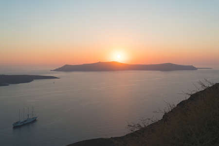 Sunset over Cyclades archipelago in Greece.