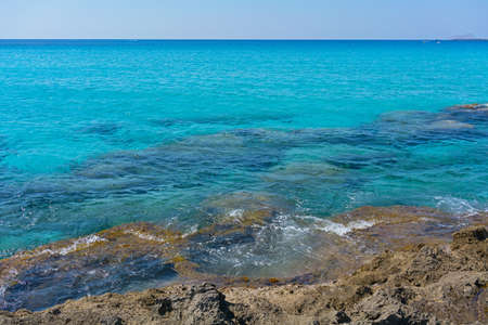Azure waters of Mediterranean Sea near mountainous Crete island, Greece. Фото со стока