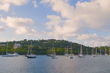 Yachts moored at St Thomas island bay in early morning, US Virgin Islands.