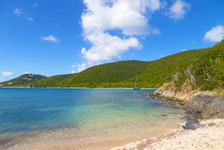 Secluded bay in the National Park of St John Island, US Virgin Island.