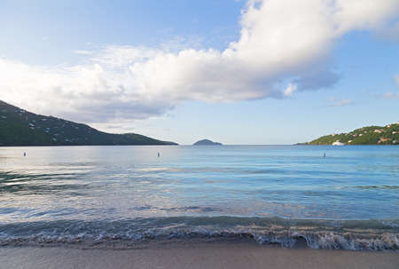 Magens Bay beach on St Thomas, US Virgin Islands. Sandy beach on a tropical mountainous island.
