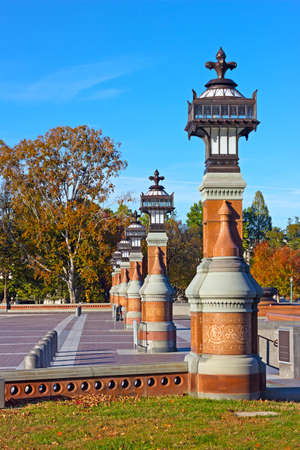Beautifully ornated columns on Capitol Hill grounds in Washington DC, USA. Historic arhitecture of US capital city om sunny day in autumn. Stok Fotoğraf