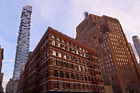 Shapes of New York city buildings at sunrise, USA. Stok Fotoğraf