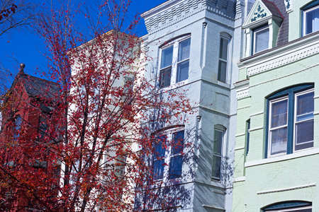 Brick houses with colorful ornate facades in autumn under blue sky.