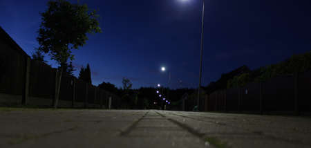 electric avenue: Photo of night street perspectove, taken from the ground. Light and trees can be seen. Stock Photo