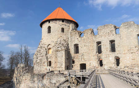 man made structure: Medieval Cesis Castle. Editorial