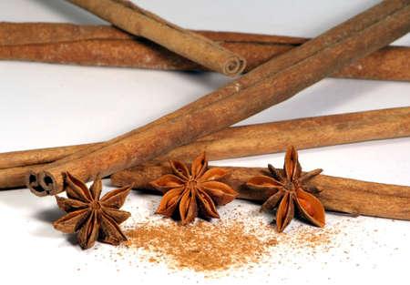 Cinnamon sticks and Annis flowers Stock Photo