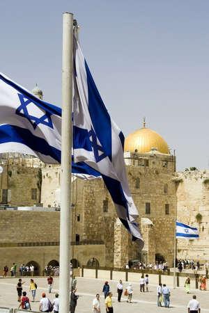 wailing: Golden dome and Wailing wall, Jerusalem, Israel