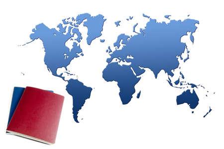 passport near blue world map
