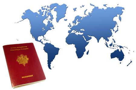 euro area: passport near blue world map