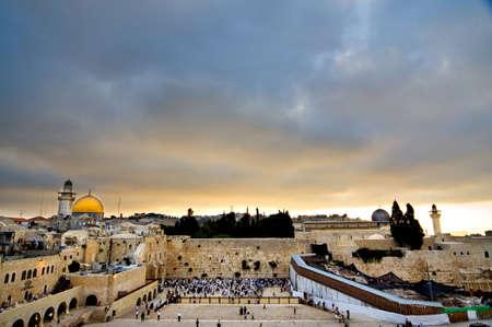 Sunrise over Jerusalem old city Фото со стока
