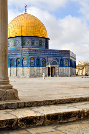 temple mount: Artistic view of the Golden Dome Mosque with stairs (Jerusalem, Israel) Stock Photo