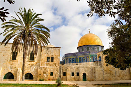 the Golden Dome Mosque with its garden (Jerusalem, Israel) photo