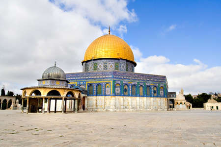 Amazing close view of the Golden Dome Mosque with the small dome near (Jerusalem, Israel)