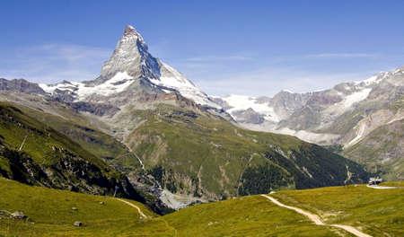 matterhorn:  Panorama view of the Matterhorn over Zermatt, Switzerland