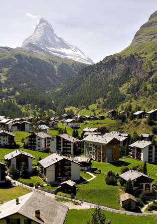 view of zermatt valley with the Matterhorn