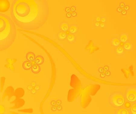 Design flower butterflies elements illustration background Stock Photo