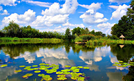 Beautiful countryside lake landscape, Poland