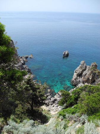 paleokastritsa: CORFU ISLAND, PALEOKASTRITSA, GREECE Stock Photo