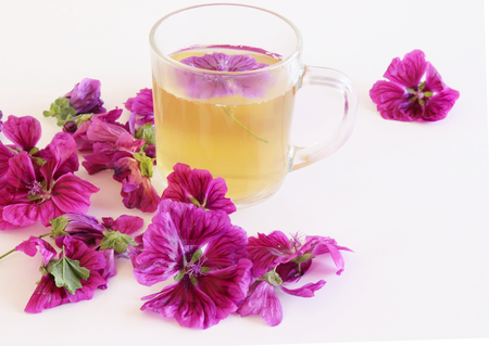 Tea or a cold-prepared macerate of flowers Malva mauritiana. The actual coloring that causes the plant dyes in response to lemon,a healing herbal drink helps with colds and a calm stomach. Stock Photo