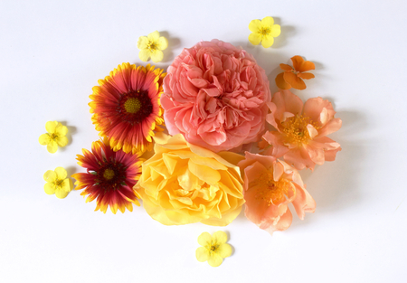 Feminine floral composition. Bouquet of wild and garden flowers ,fat lay, top view. Stock Photo