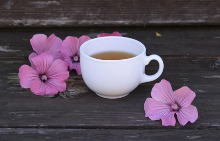 Tea or a cold-prepared macerate of flowers Malva mauritiana. The actual coloring that causes the plant dyes in response to lemon, a healing herbal drink helps with colds and a calm stomach.
