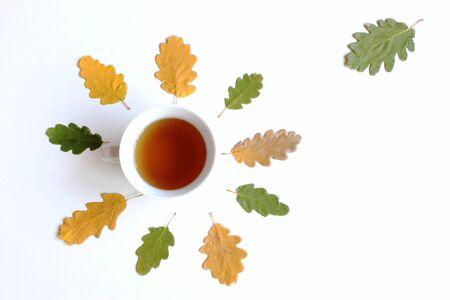 Mug with warm tea on white wooden table on fallen autumn leaves.Ttop view. 免版税图像