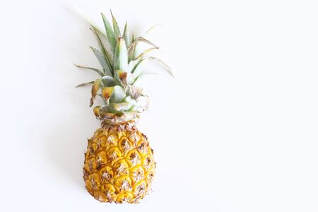 Pineapple on a white background. Pineapple is a plant genus of the bromeliad family, the flesh inside color from almost white to bright yellow, fragrant and juicy. 写真素材