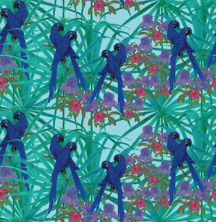 Seamless pattern with hyacinth macaws.