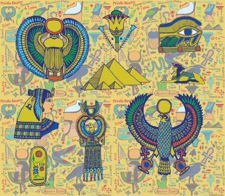 ankh: Egyptian objects set.