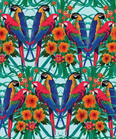 Seamless pattern with macaw parrots. Hand drawn vector.  イラスト・ベクター素材