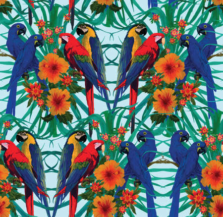 Seamless pattern with macaws and flowers. Vector