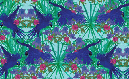 Seamless pattern with hyacinyh macaw parrots. Hand drawn vector. Vector