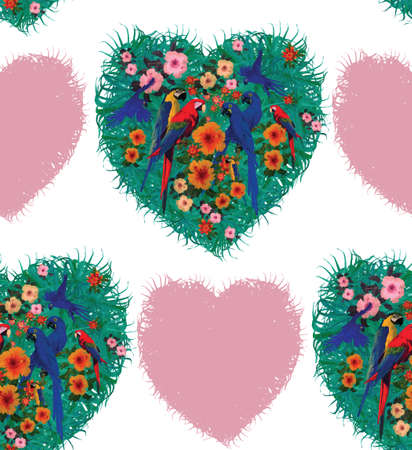 Macaw hearts seamless pattern. Hand drawn vector.