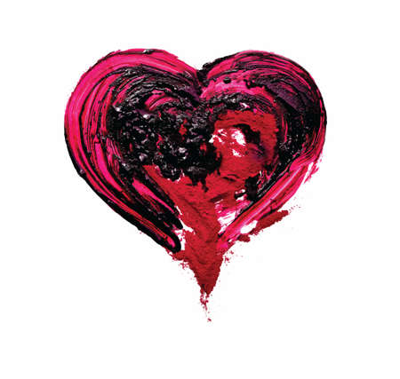 pigment: Red heart. Oil and red pigment. Vector. Pait making prosess.