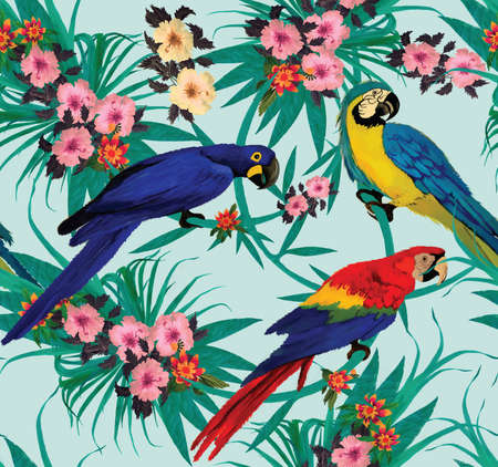 Seamless pattern with macaws sitting on branches. Hand drawn vector.