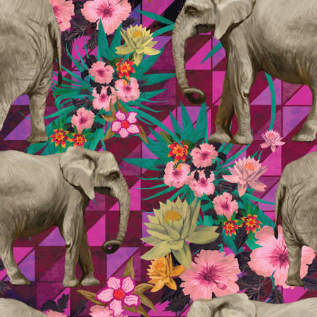 Pattern with indian elephants. Hand drawn vector.