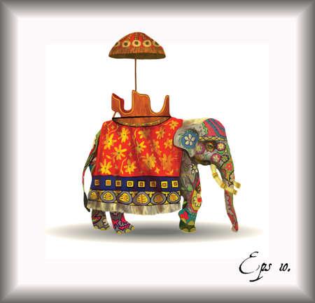 indian elephant: Elefante indio aislado Ilustraci�n. Dibujado a mano de vectores.