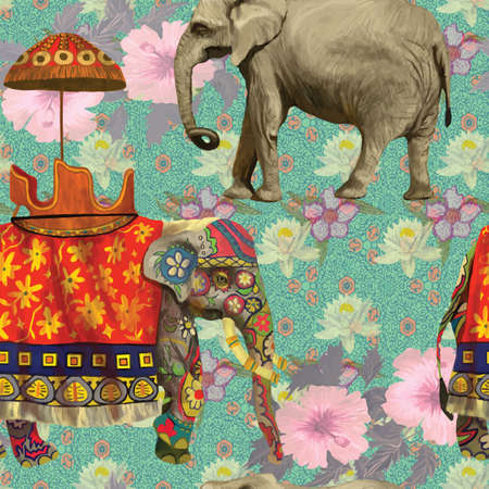 india pattern: Seamless pattern with indian elephants. Hand drawn vector.