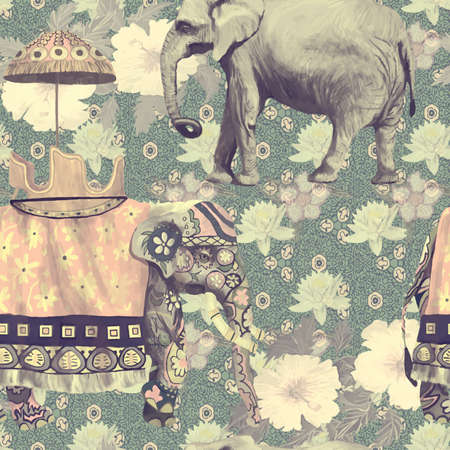 Vintage style seamless pattern with indian elephants. Hand drawn vector. Vettoriali
