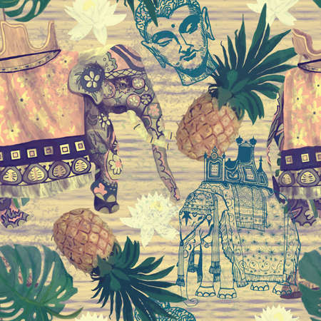 Pattern with indian elephants. Hand drawn vector. Vintage style.