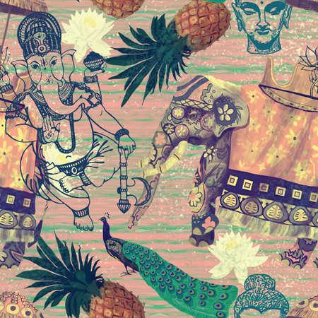 indische muster: Muster mit indischen Elefanten. Hand gezeichnet Vektor. Vintage-Stil. Illustration
