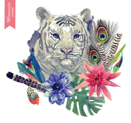 Vintage indian style tiger head illustration. Hand drawn vector watercolor.
