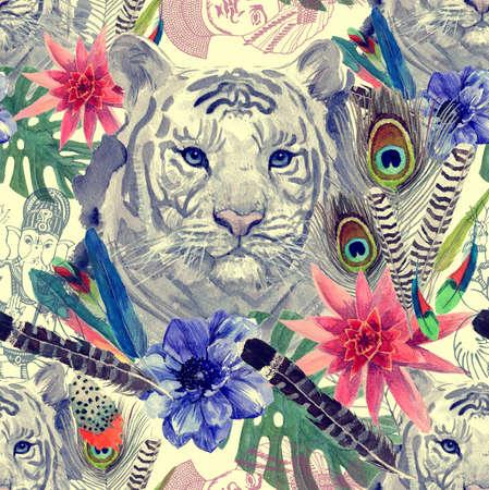 flores exoticas: Patr�n de cabeza Vintage indio tigre estilo. Dibujado a mano ilustraci�n de la acuarela.