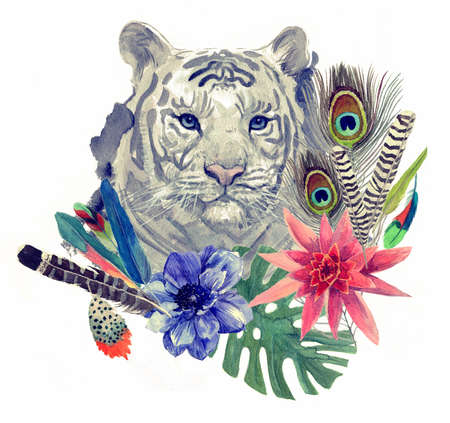 tiger: Vintage indian style tiger head pattern. Hand drawn watercolor illustration.
