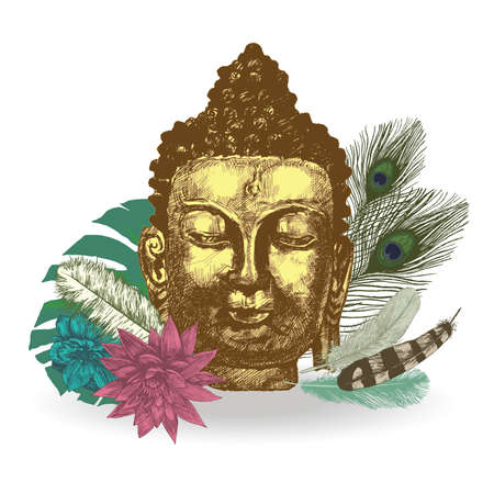 Buddha head with leaves and feathers. illustration. Hand drawn vector.