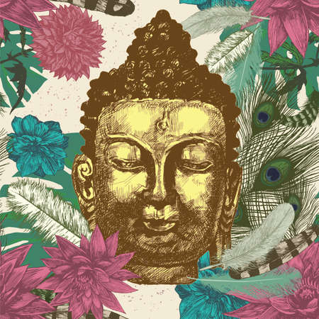 buddha head: Buddha head with leaves and feathers seamless pattern. Hand drawn vector.