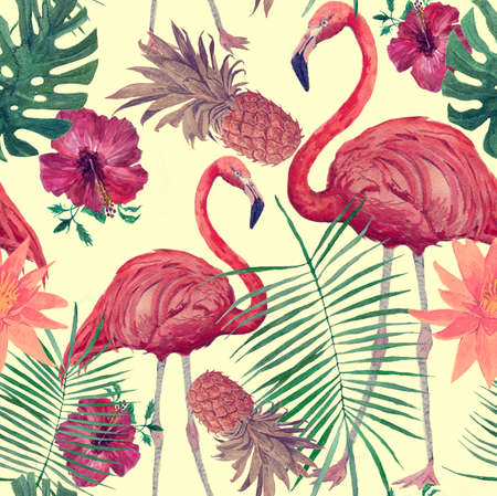 Seamless watercolor vintage pattern with flamingo, leaves, flowers. Hanad drawn